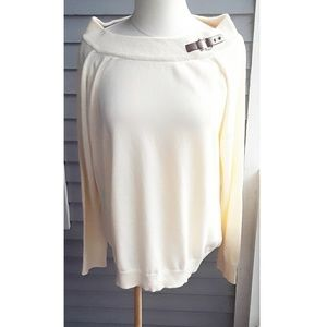 Lauren Ralph Lauren Cream Boat Neck Sweater  1X